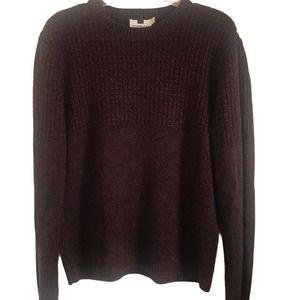 Topman Textured Yoke Knit Maroon Sweater